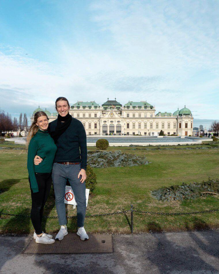 Dom and Jo at Belvedere Castle in Vienna, Austria.