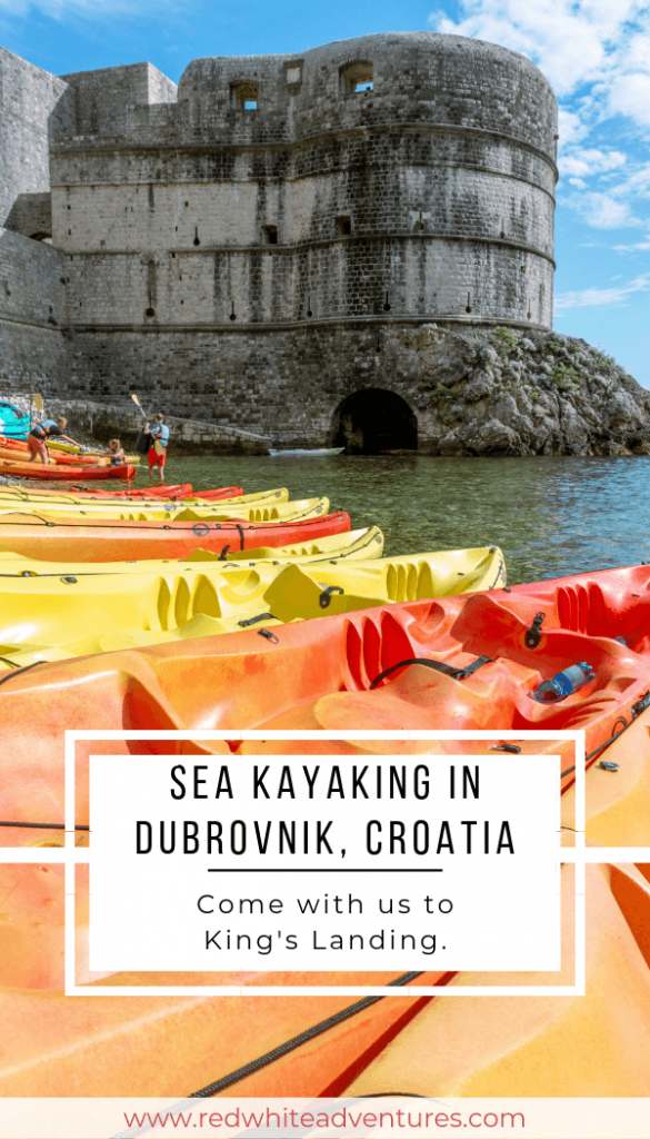 Picture of a castle and sea kayaking in Croatia.