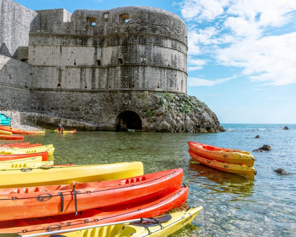 Sea kayaks in Dubrovnik, Croatia.