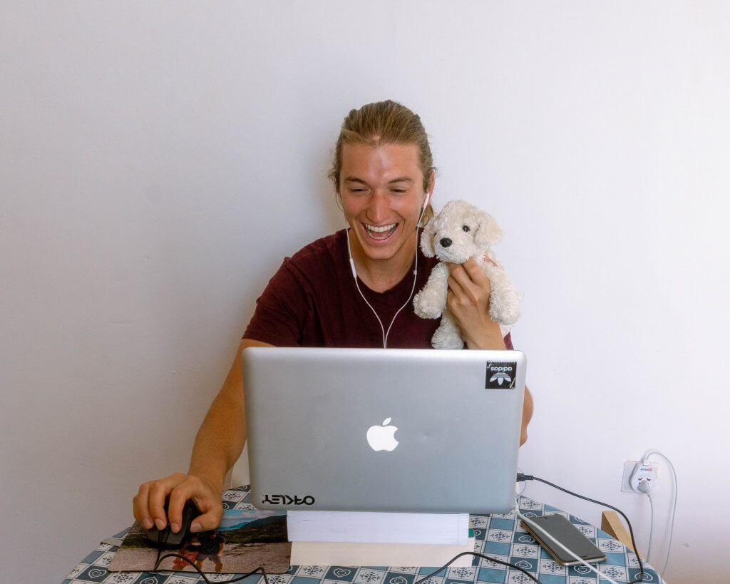 Dom teaching English online.