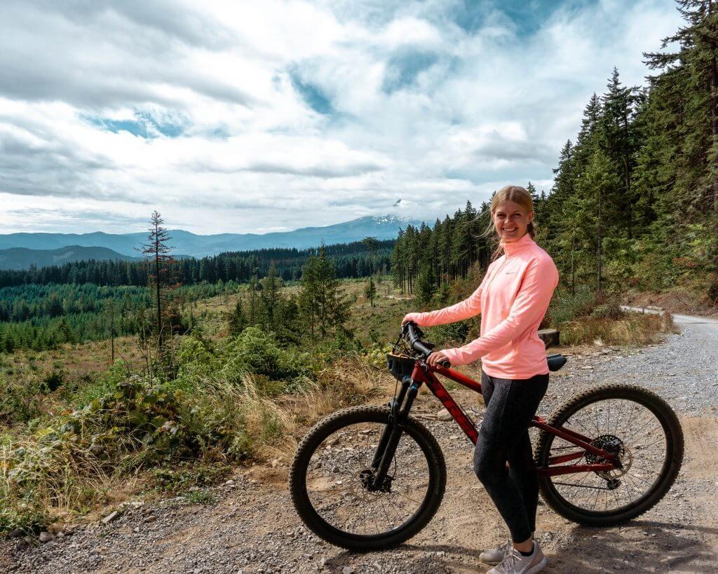 Jo mountain biking in Oregon.
