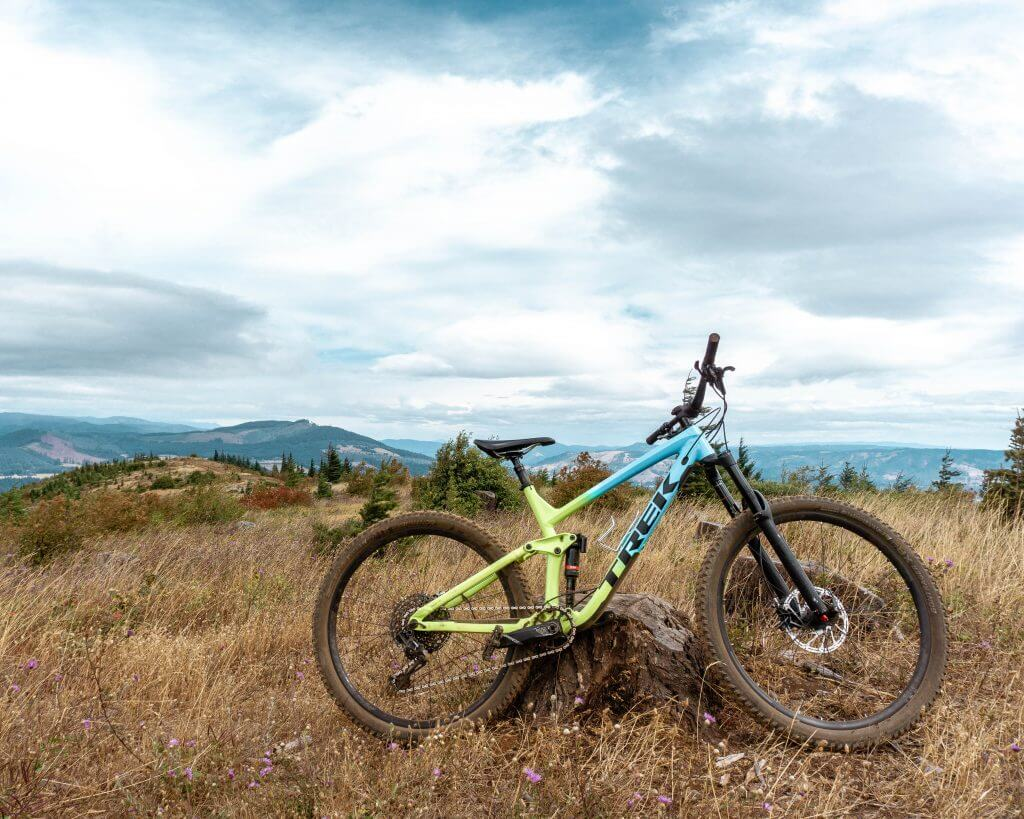 Trek Mountain bike on a hill.