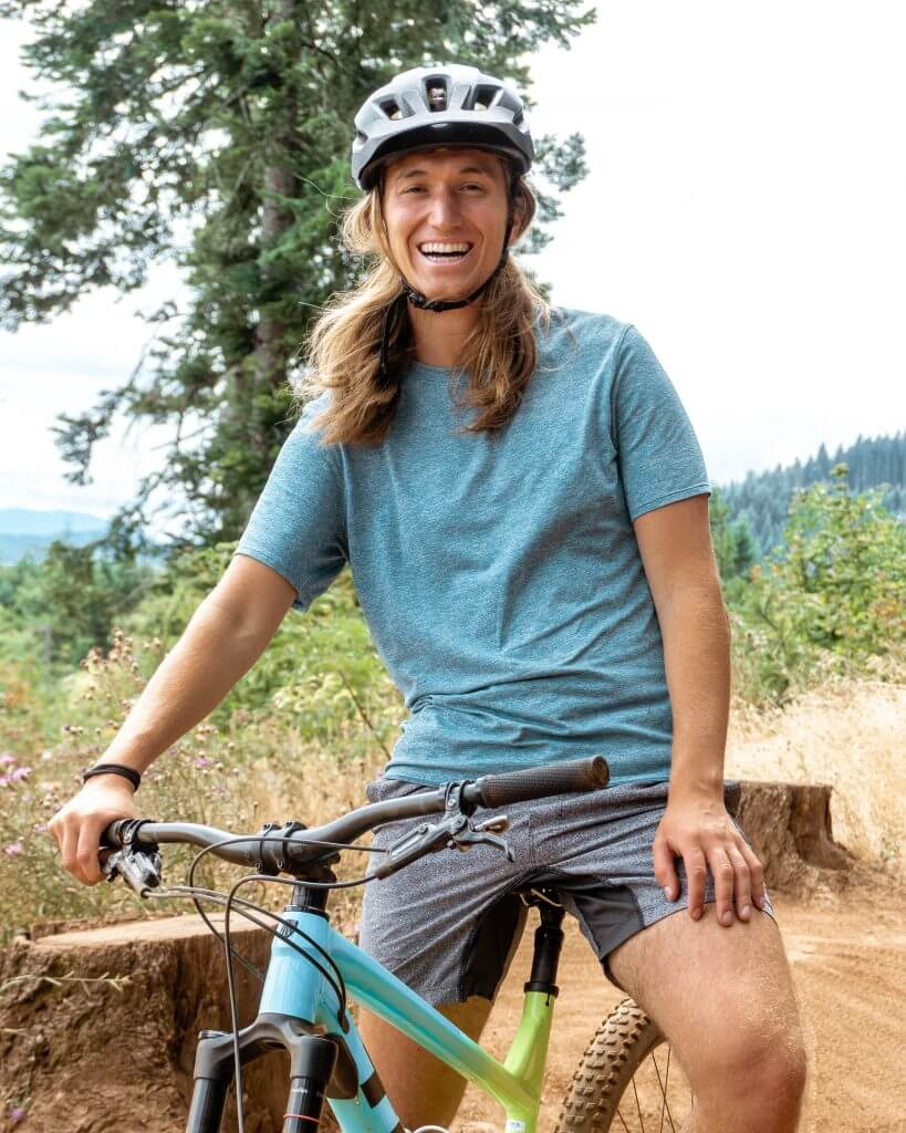 Dom mountain biking in Oregon.