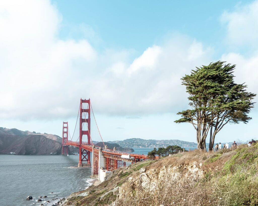 Views of the Bay bridge in San Francisco.