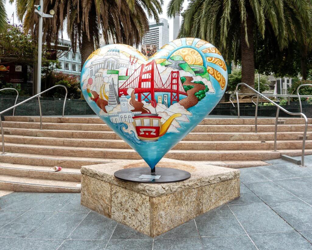 Sculpture of a heart in San Fran.