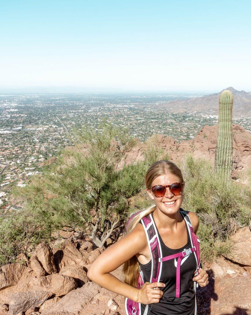 Hiking along Echo Trail going to the top of Camelback Mountain.