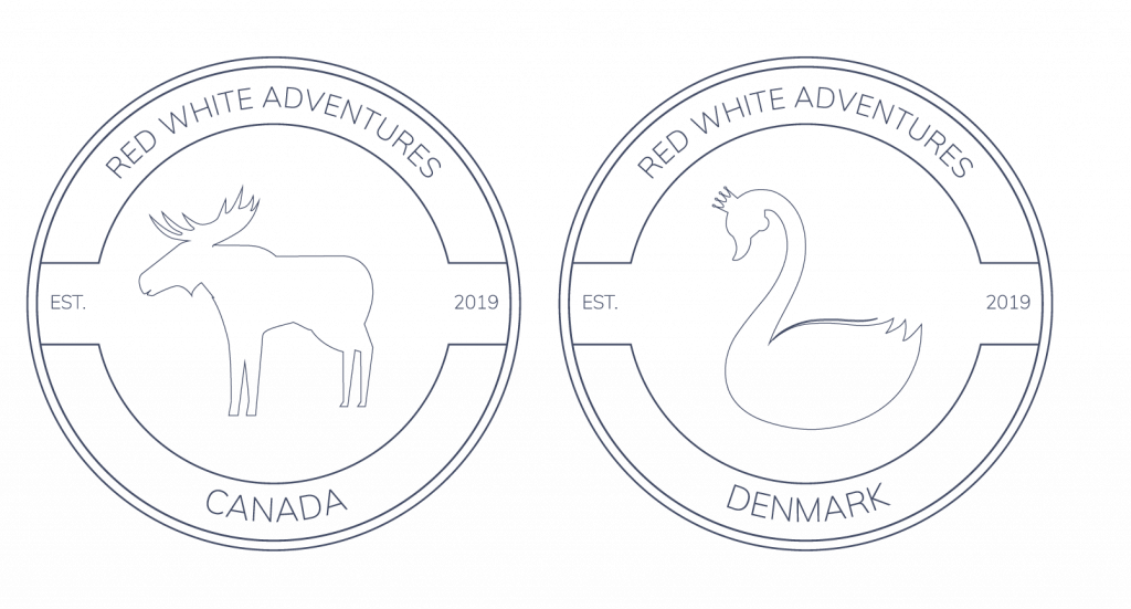 red white adventures logo with swan and moose