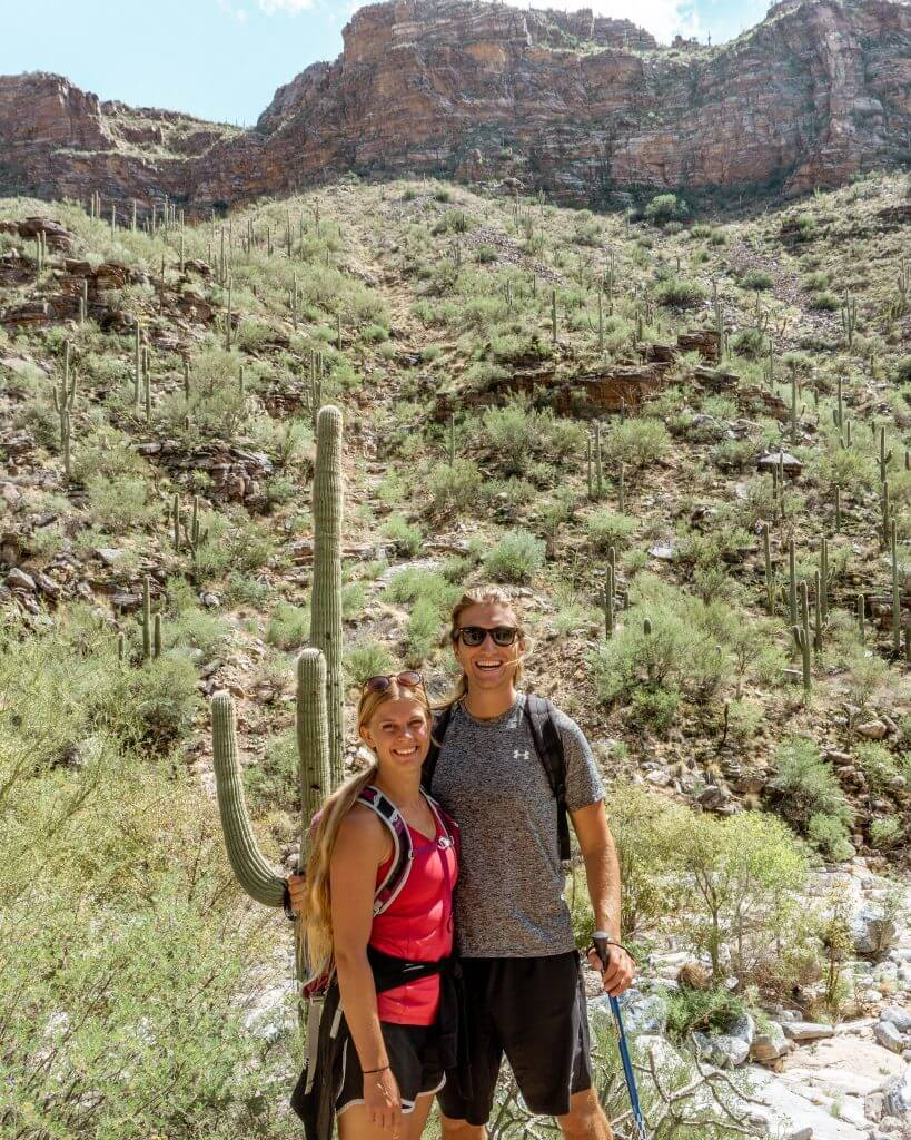 Dom and Jo in front of a Saguaros Cactus