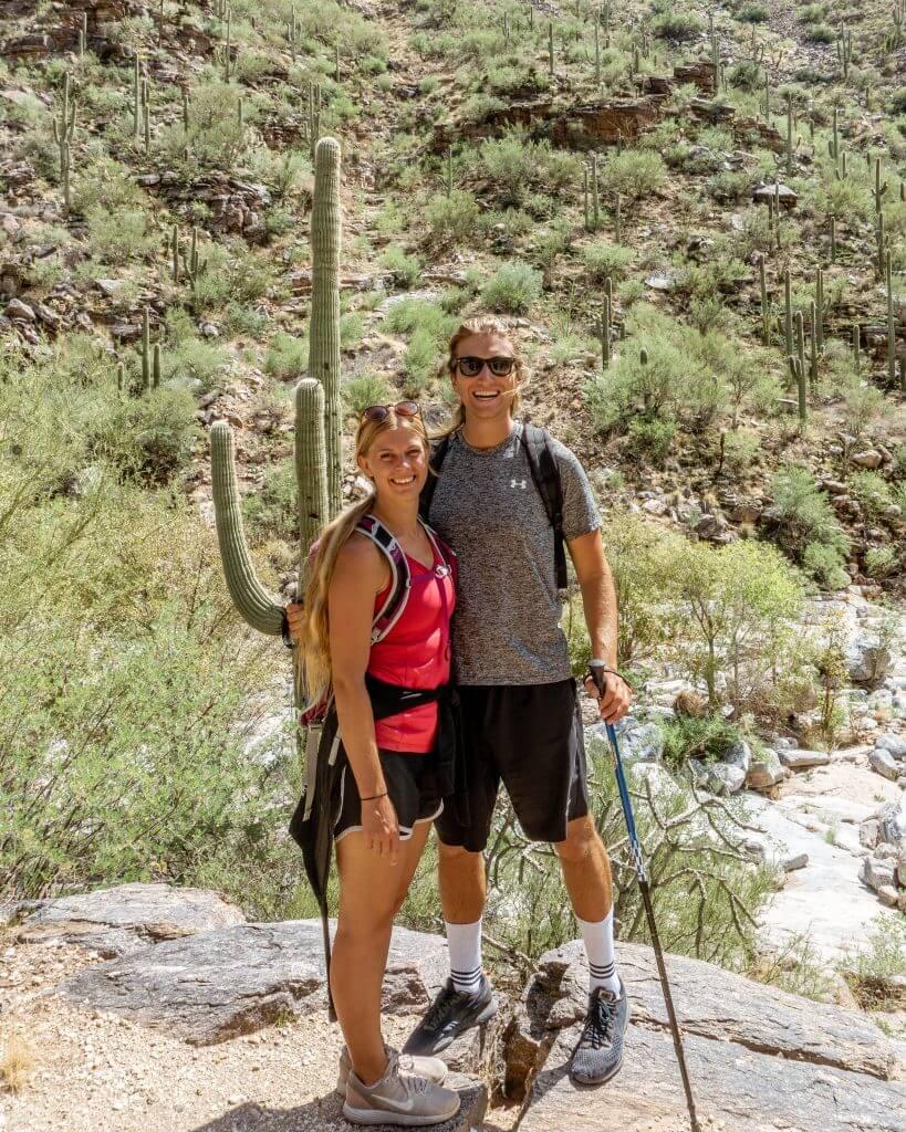 Dom and Jo hiking in Arizona.