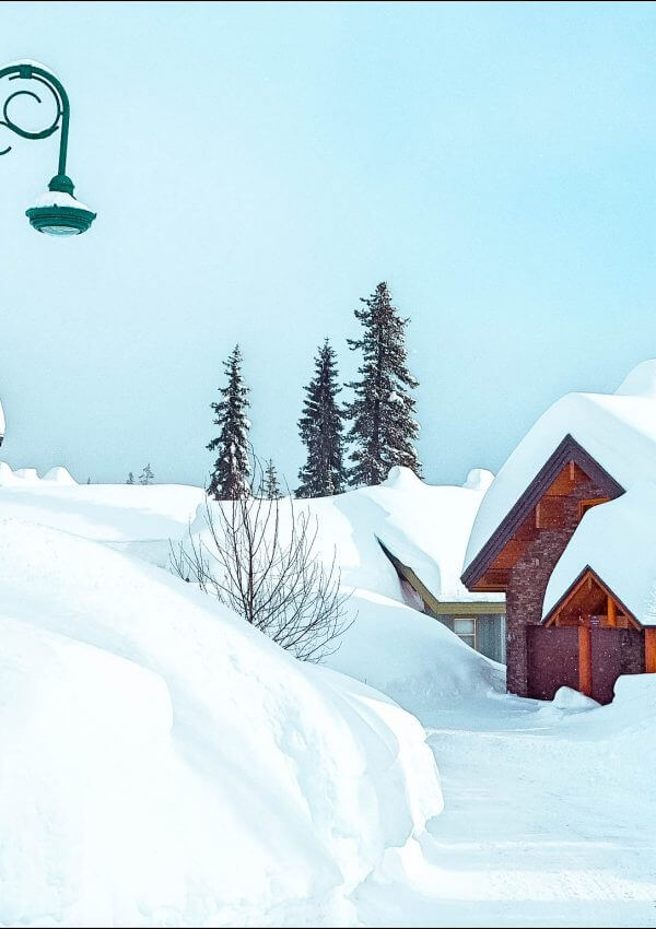 Big White accommodation covered in snow