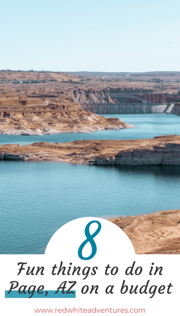 Pin with an image of Lake Powell which is one of the page az attracitons