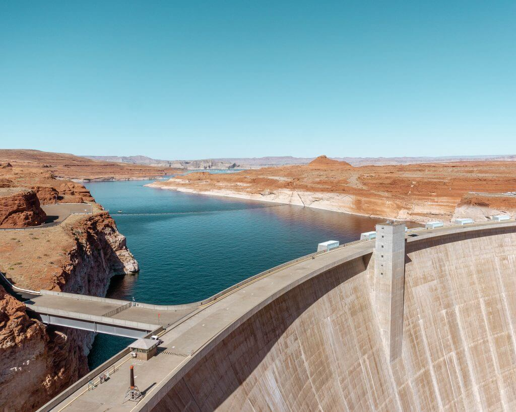 View over Glen Canyon Dam in Page Arizona