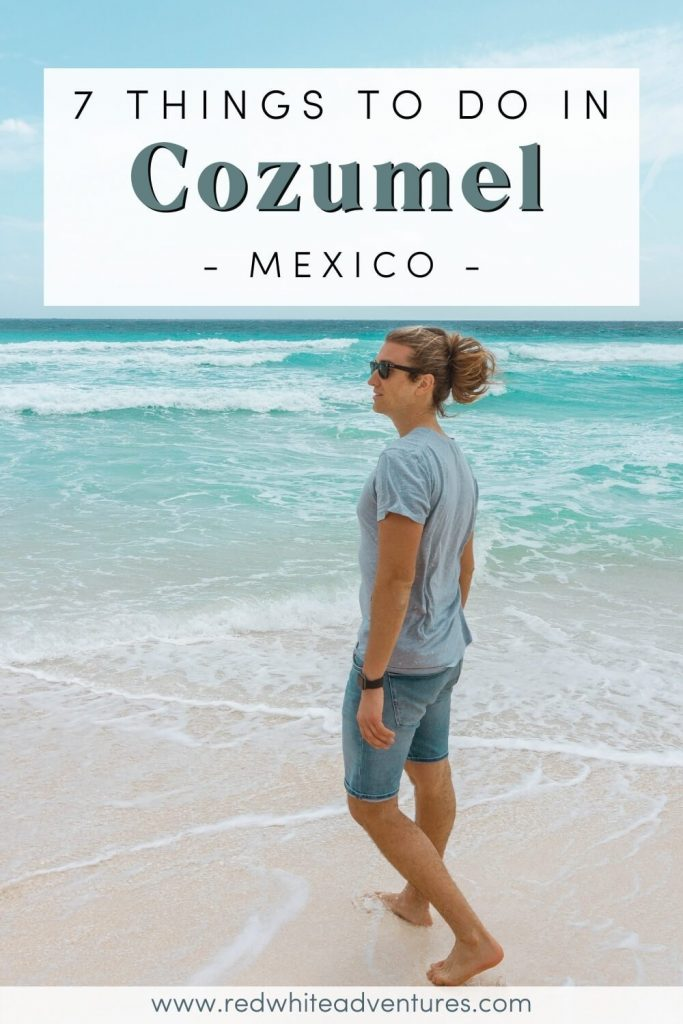 Boy standing on a beach in Cozumel Mexico