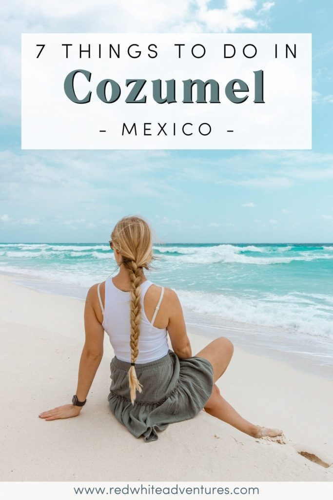 Girl sitting on a beach in Cozumel Mexico