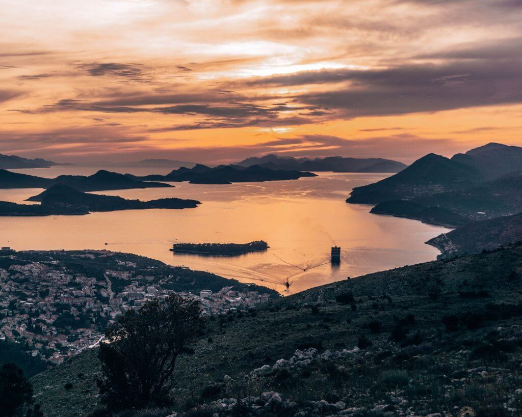 The best sunset spot in Dubrovnik is up at Mt Srd.