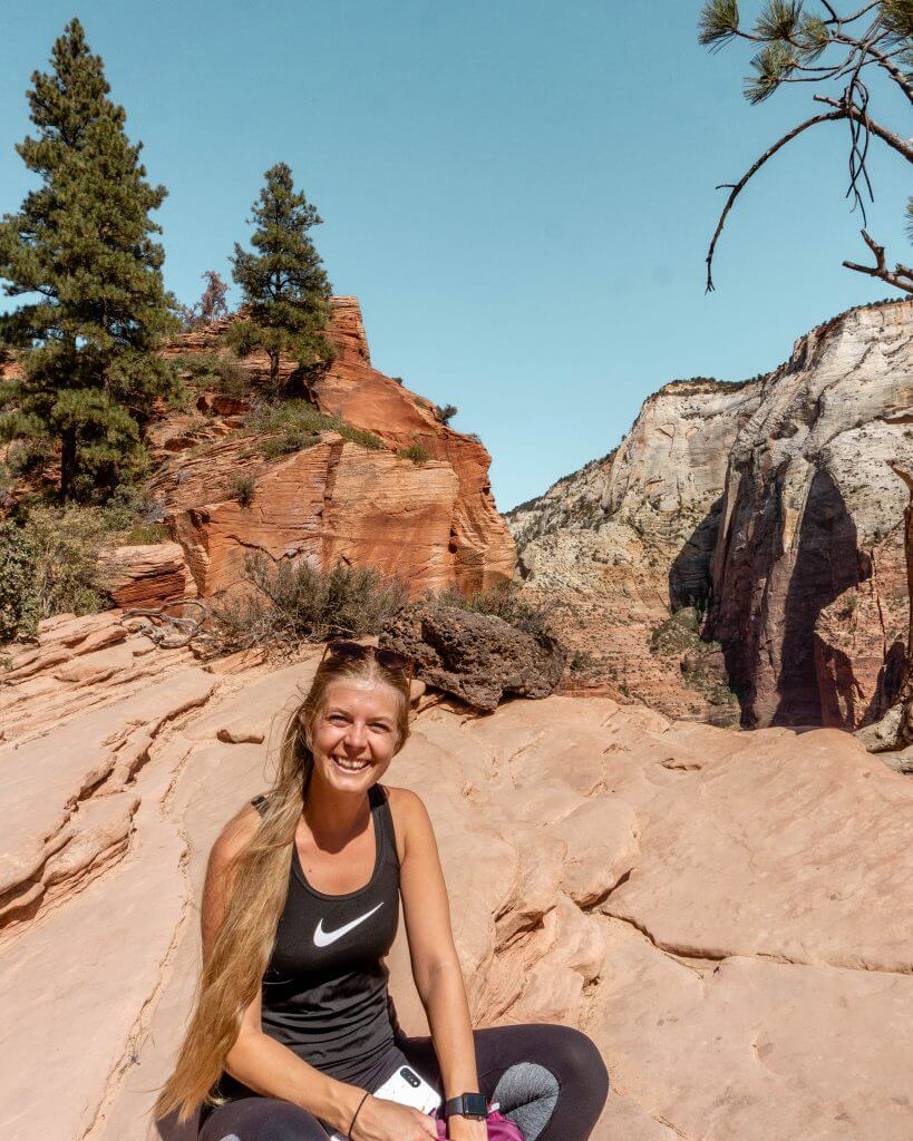 Jo at the top of Scout's Lookout in Zion.