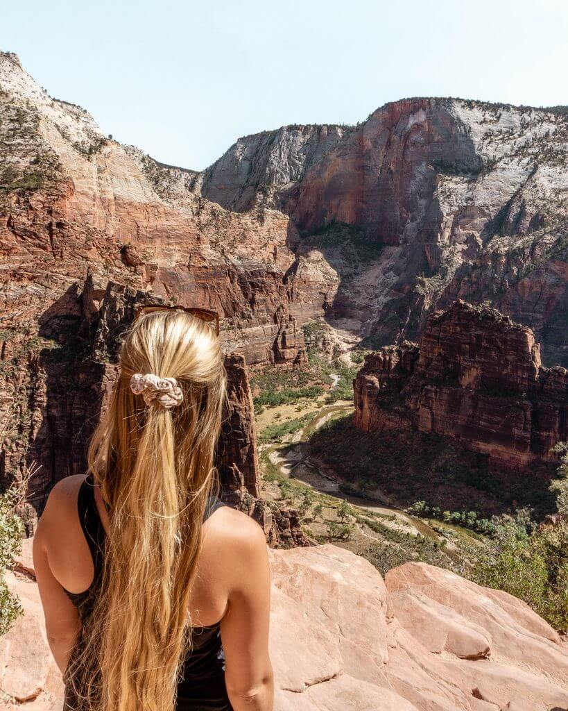 Admiring the views from the top of Angels Landing.