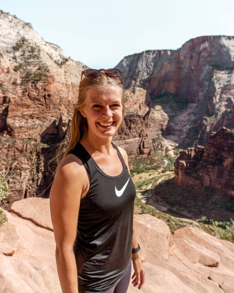 Jo hiking in Zion National Park in the summer.