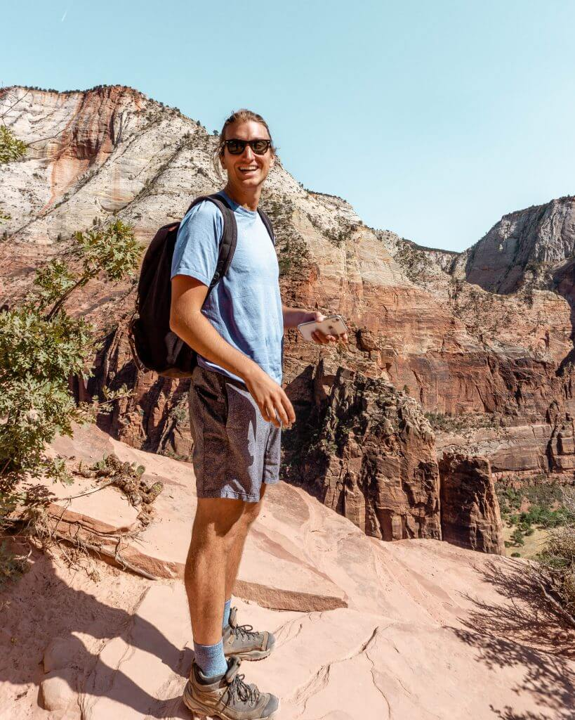 Taking in the views while hiking in Zion National Park.