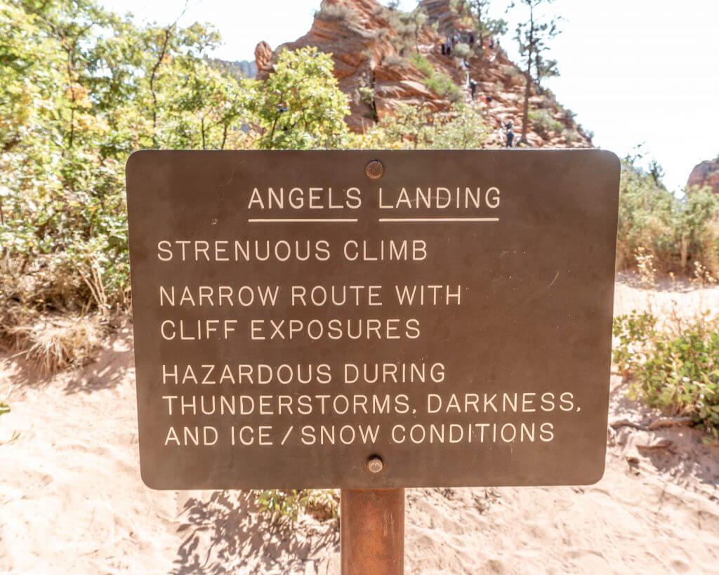 Trailhead for Angels Landing in Zion.