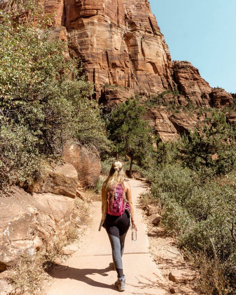 Hiking in Zion National Park.