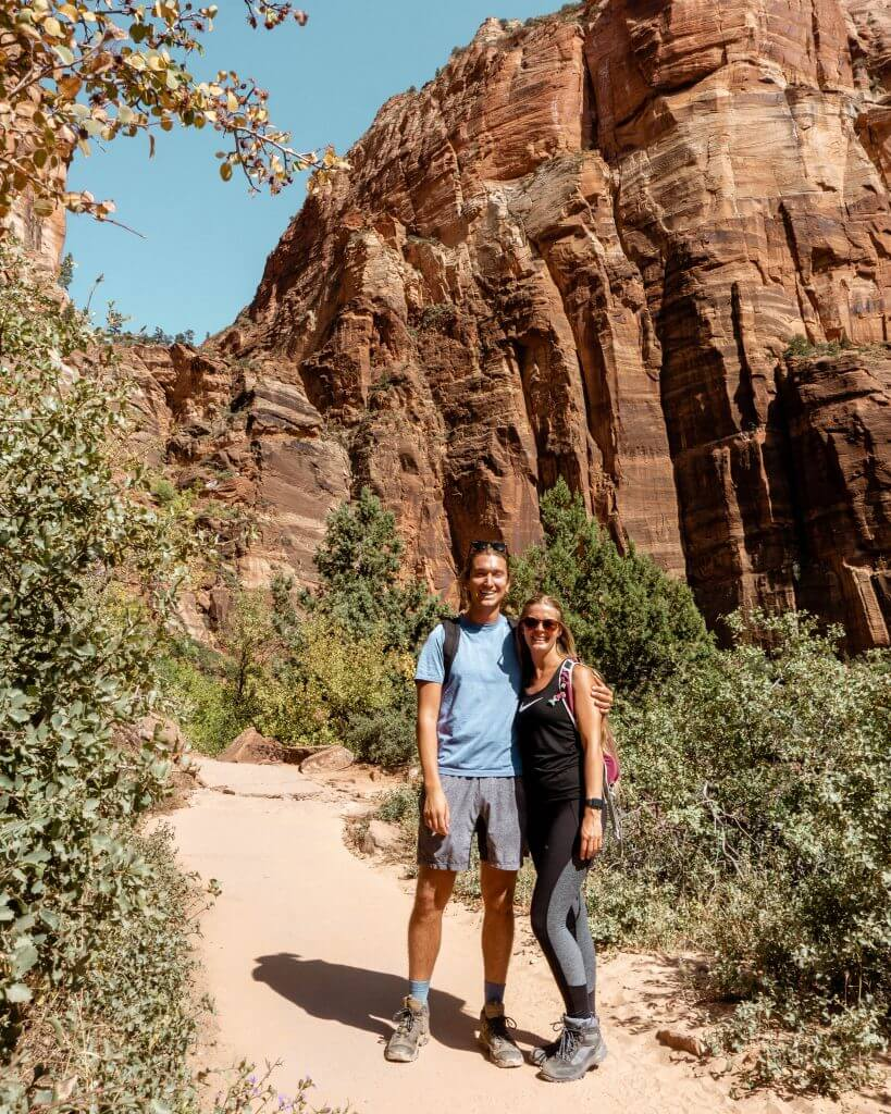 Dom and Jo hiking in Zion National Park.