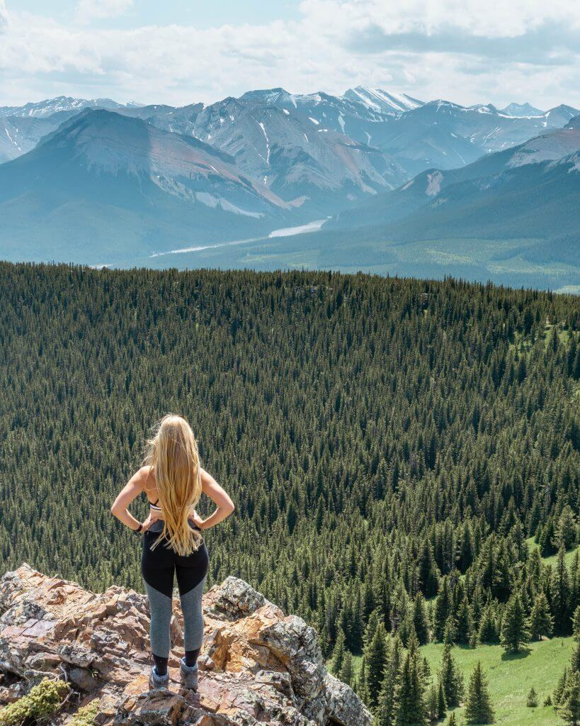 Jo taking in the views of the Canadian Rockies.