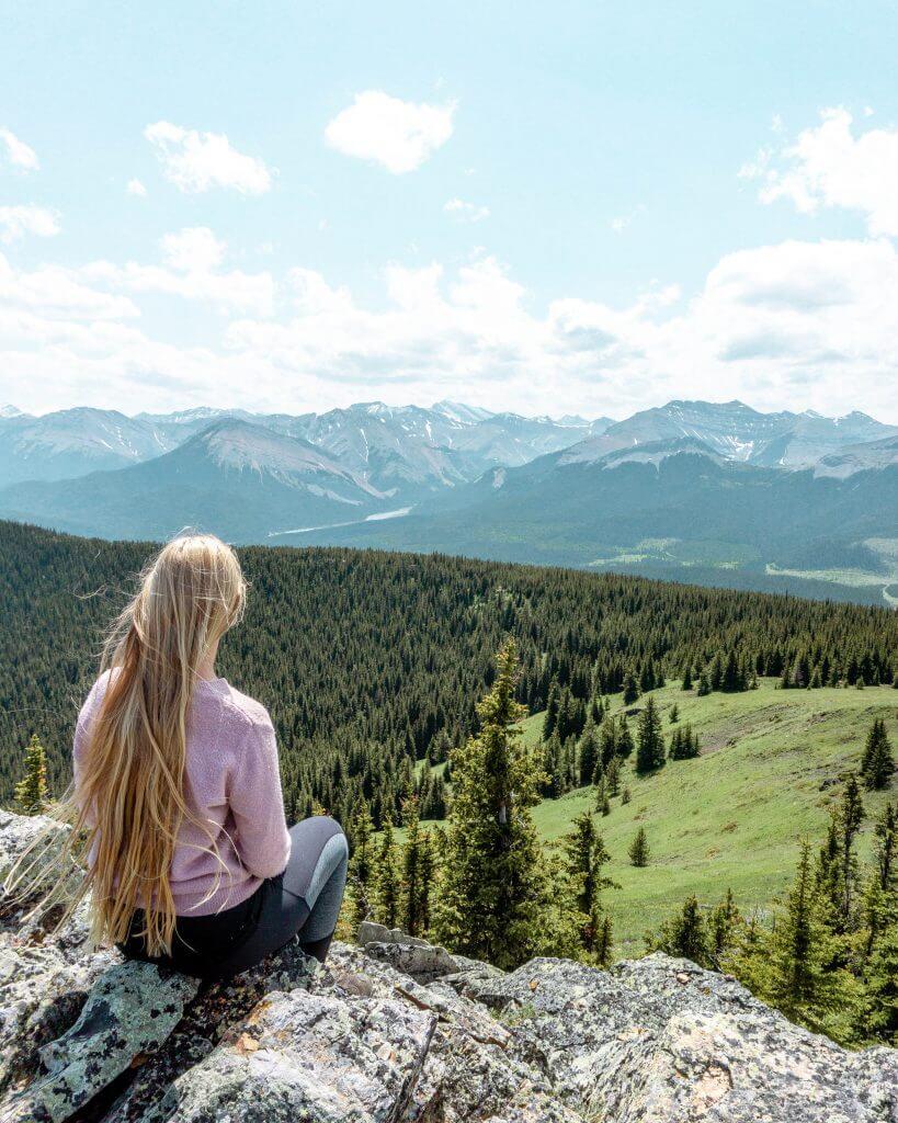 Jo enjoying the views of the Canadian Rockies.
