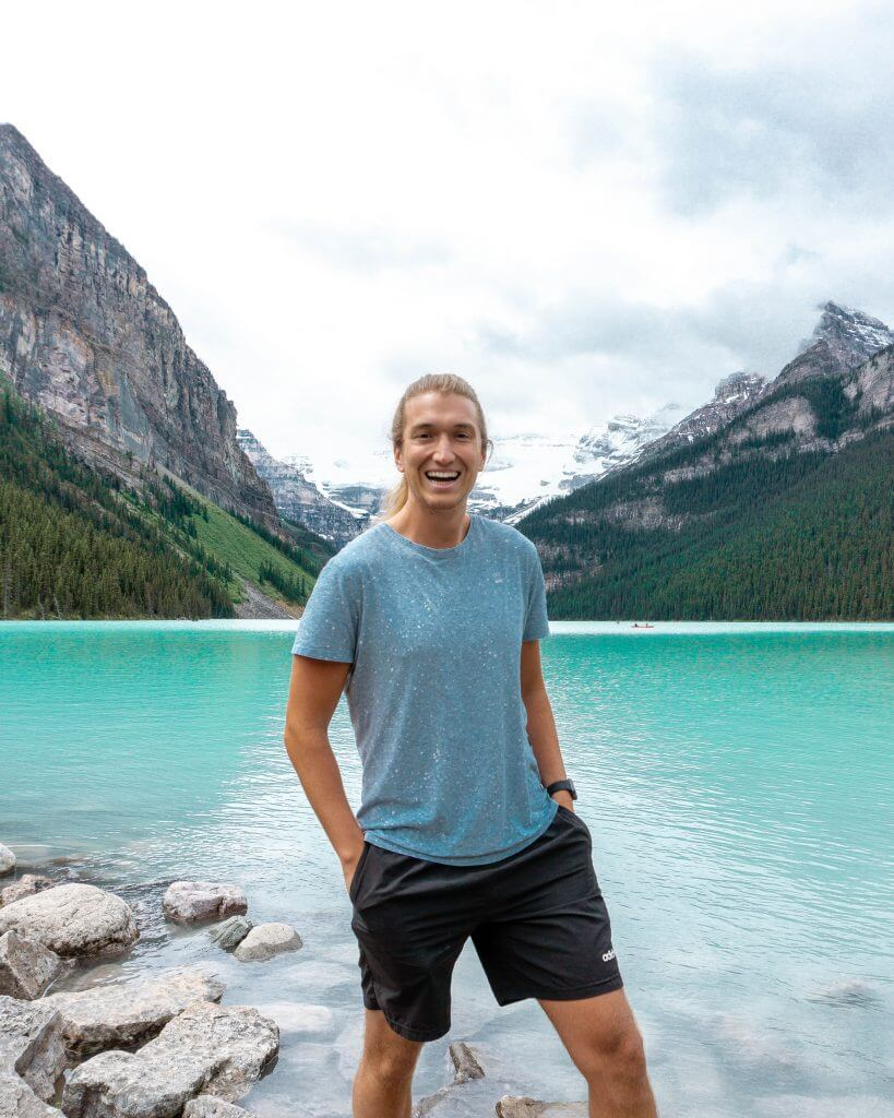 Smiling in front of the famous lake in Alberta.