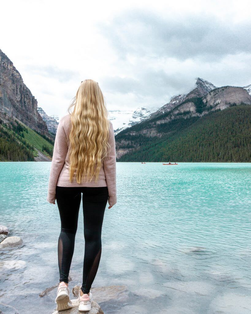 Jo admiring the views of Lake Louise, Alberta.