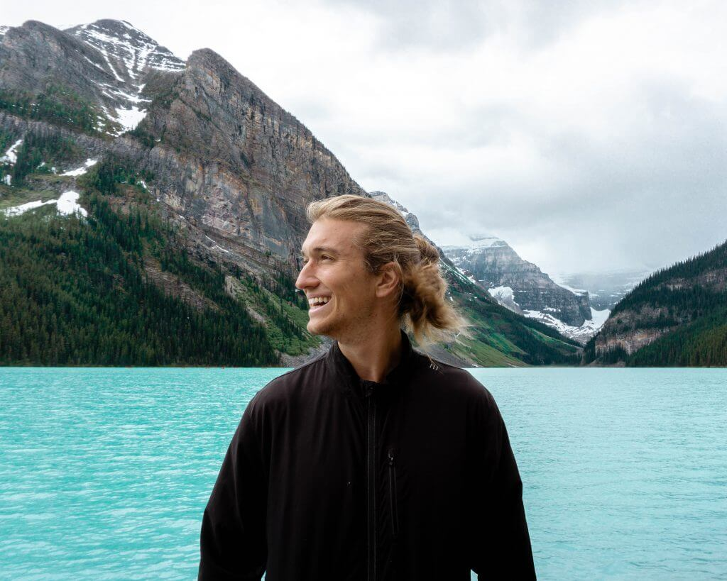 Dom smiling because he's in the mountains.