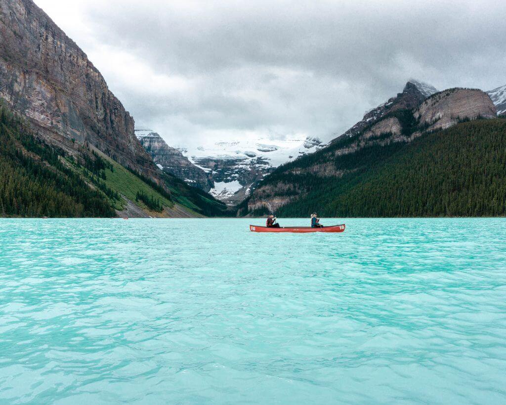 Canoe's on Lake Louise.