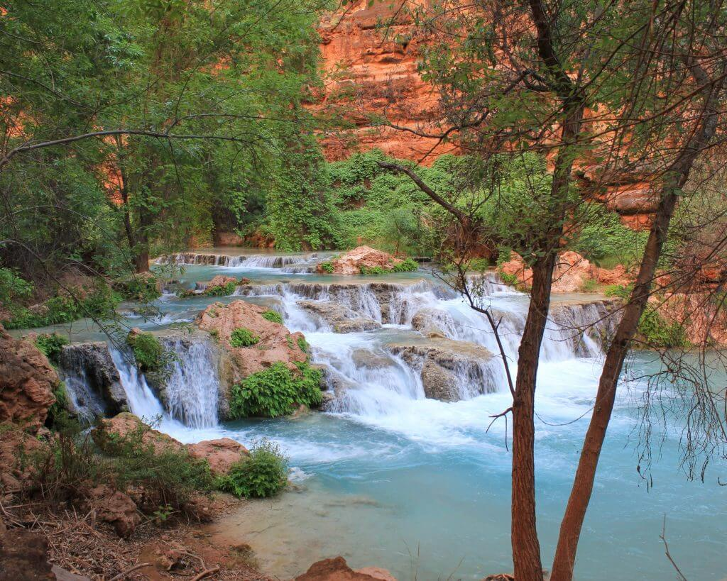 Amazing waterfall at Havasupai Falls Trail.
