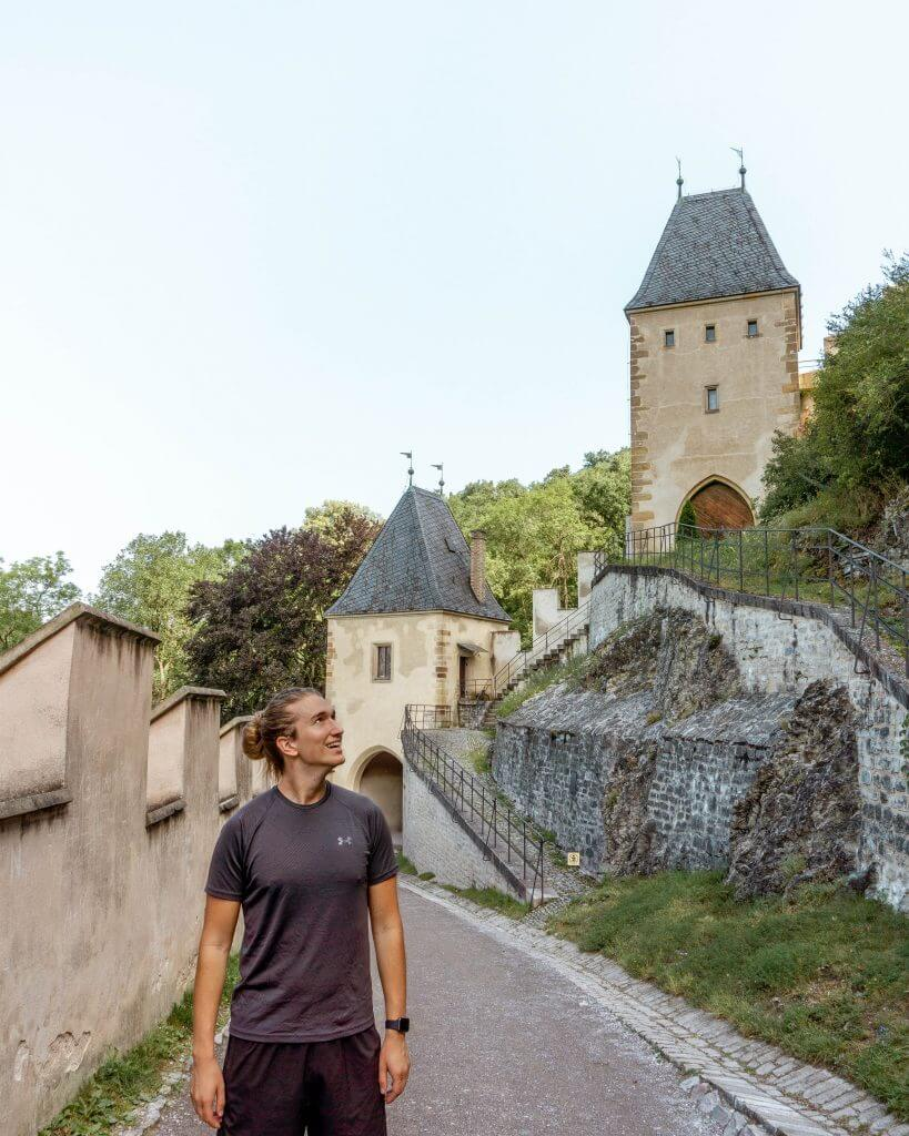 Dom hiking around Karlstejn Castle in the Czech Republic.