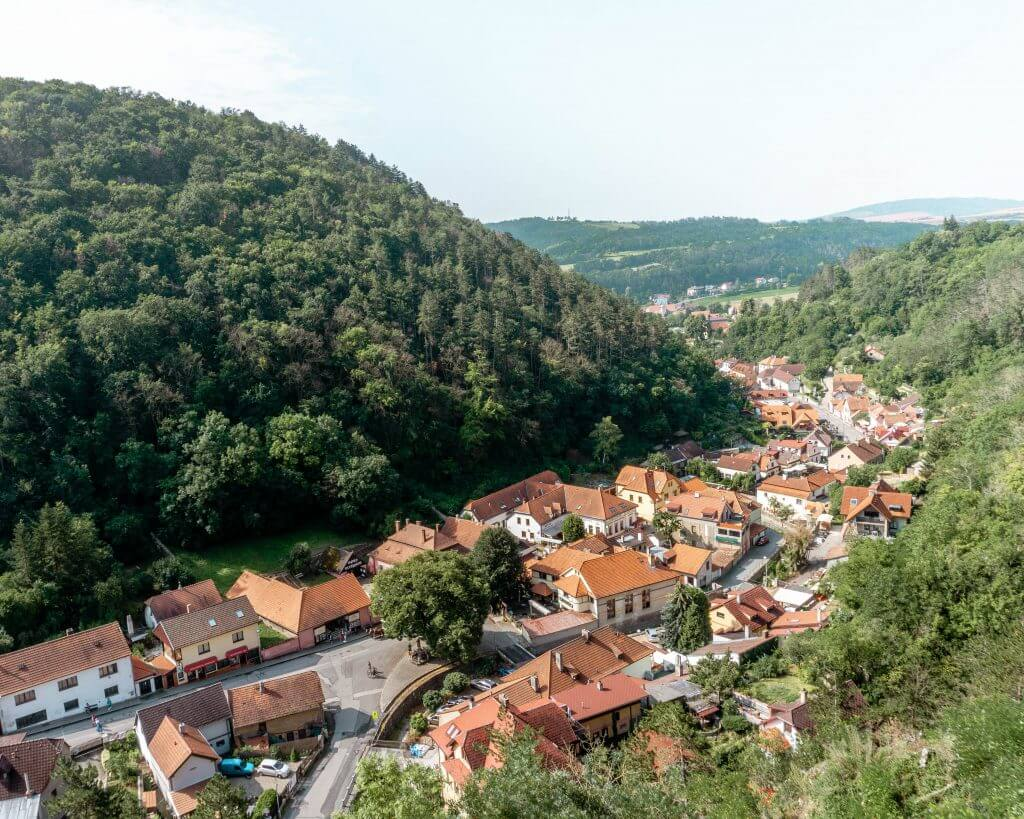 Views of the town of Karlstejn down below from the castle.