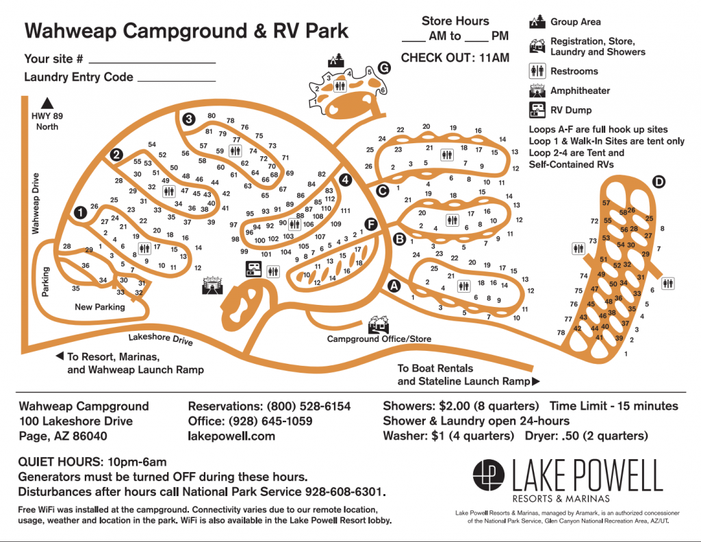 Lake Powell Campground map.