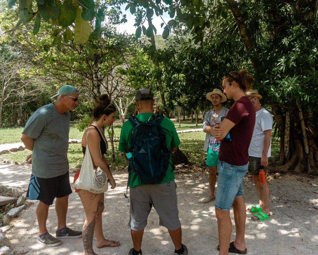 Talking to our guide from Mexico Kan Tours.