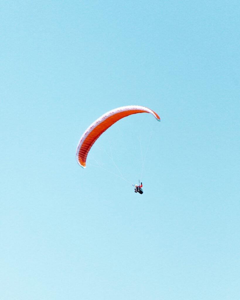 Paraglider near Snezka Mountain.
