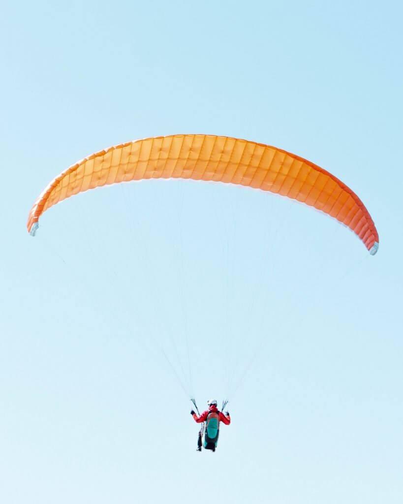 Paraglider flying over Snezka!