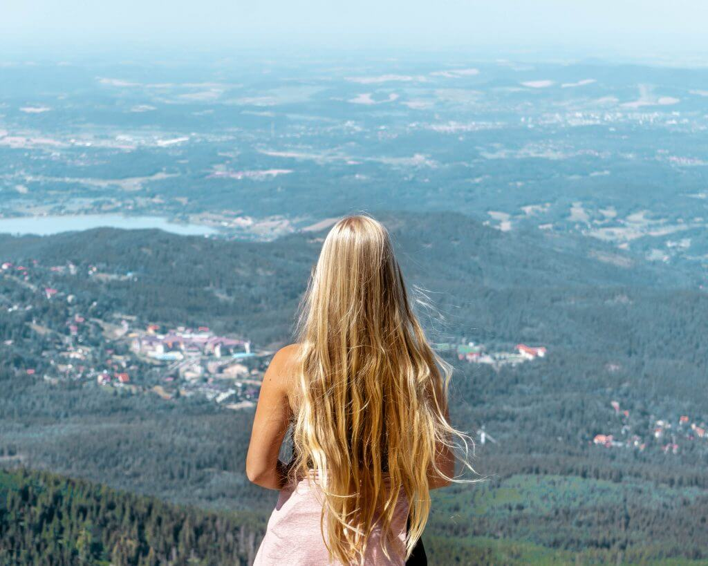 Views of Poland from the top of Czech tallest mountain.