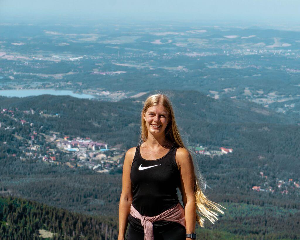 Jo hiking in the Czech Republic near Pec Pod Snezkou.