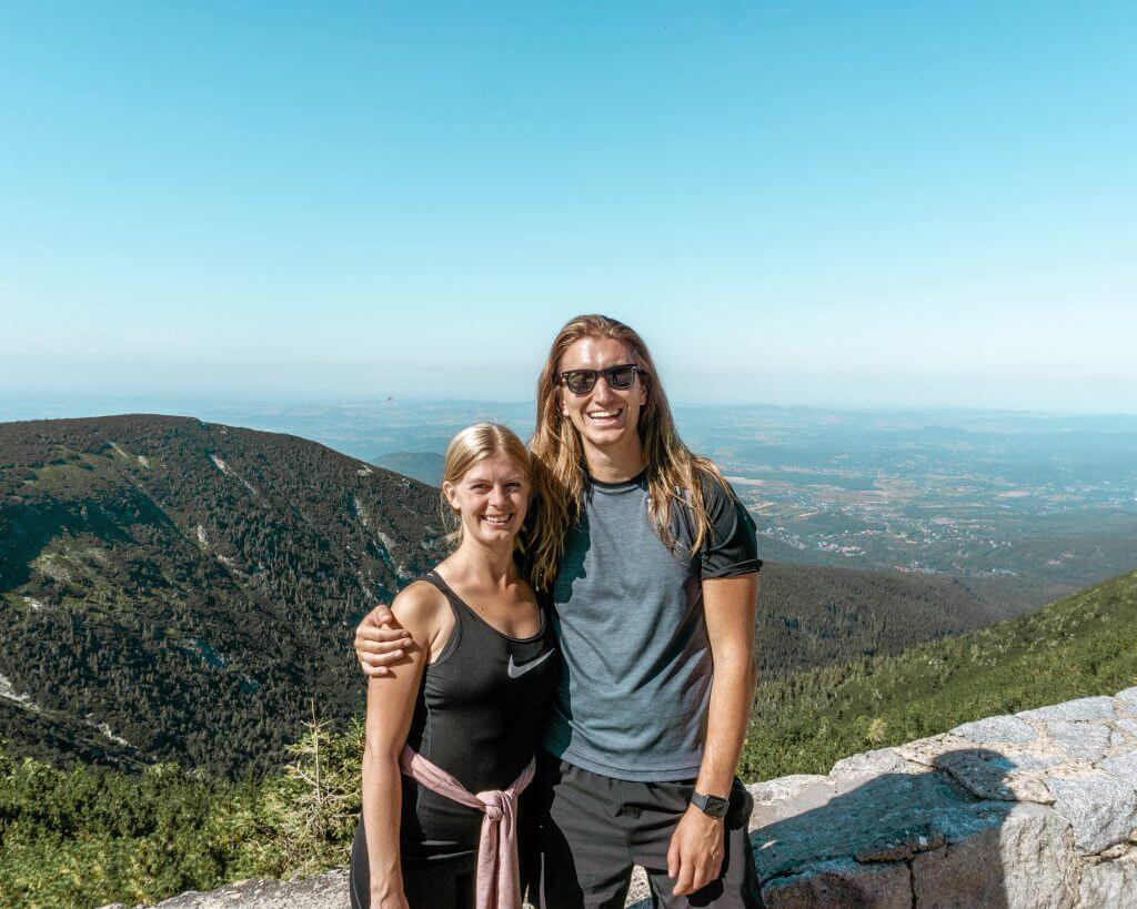 Dom and Jo exploring Snezka Mountain.