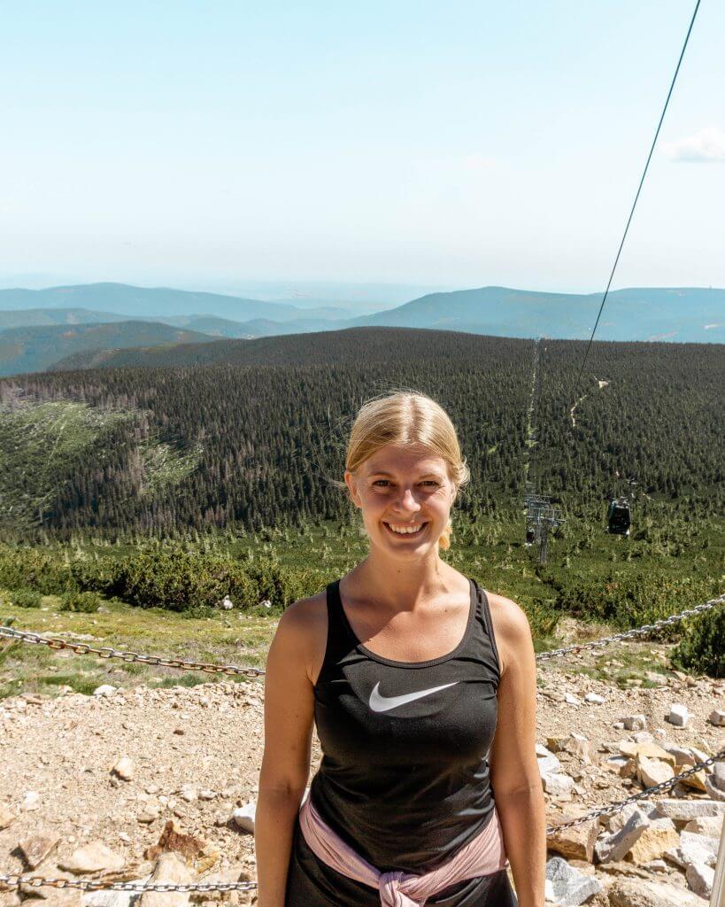 Jo hiking up a mountain in the Czech Republic.