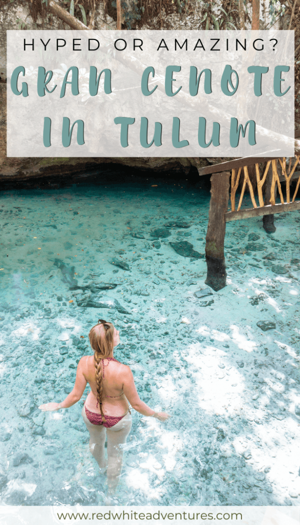 Pin for Pinterest of a Gran Cenote in Tulum.