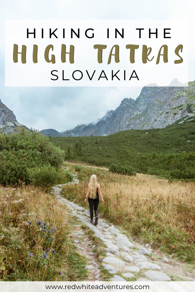 Pin for Pinterest of hiking in the High Tatras.
