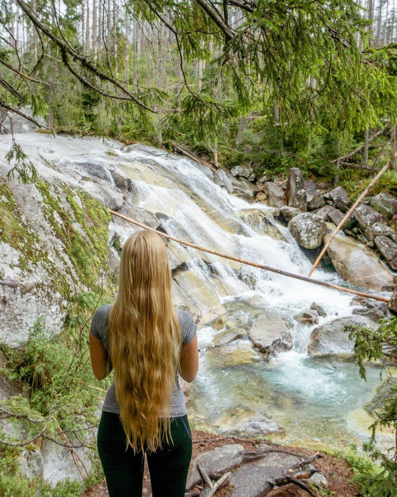 Jo hiking in Europe.