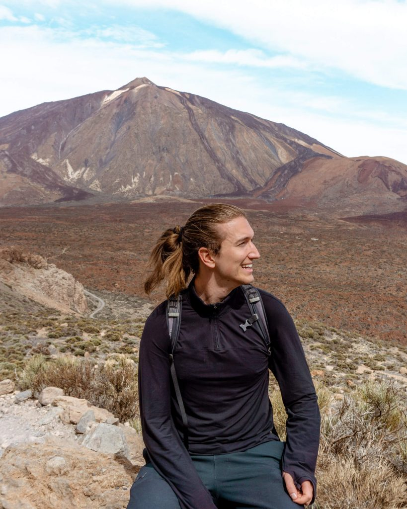 Dom hiking with El Teide in the background.