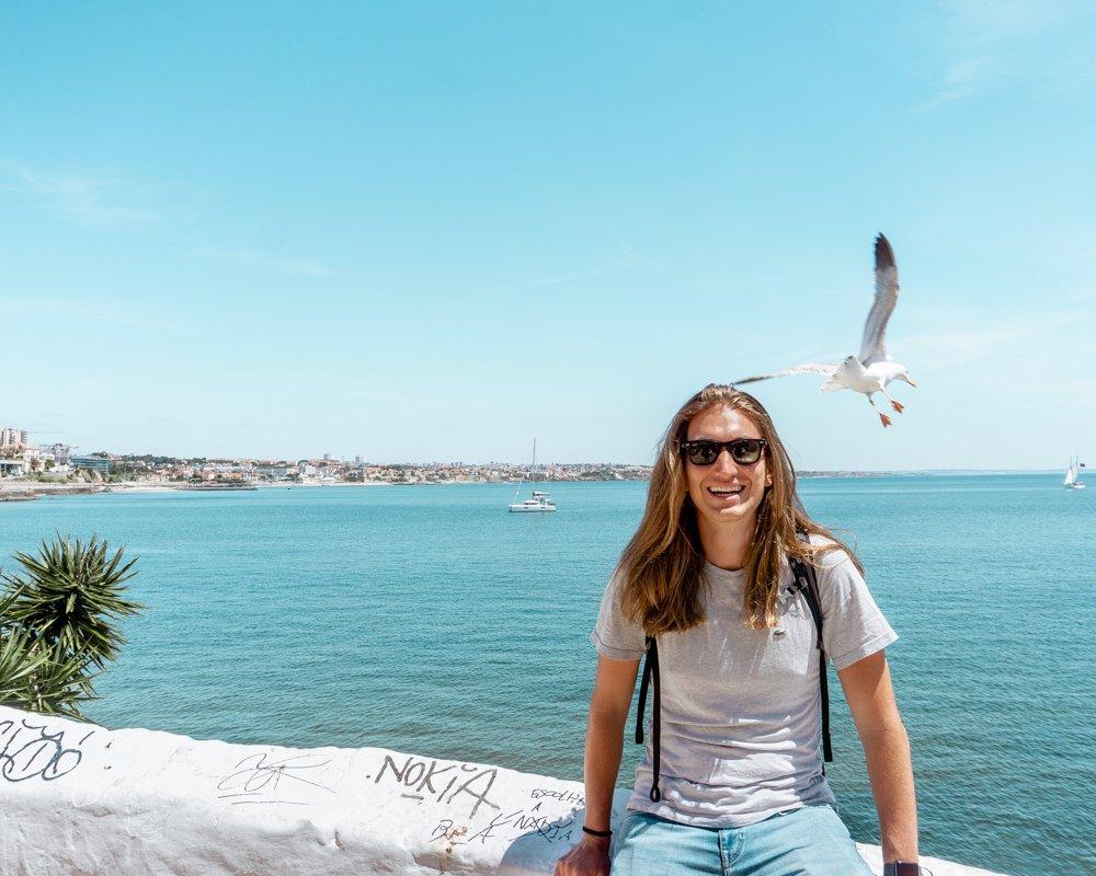 Dom enjoying the views of the Portuguese coast.
