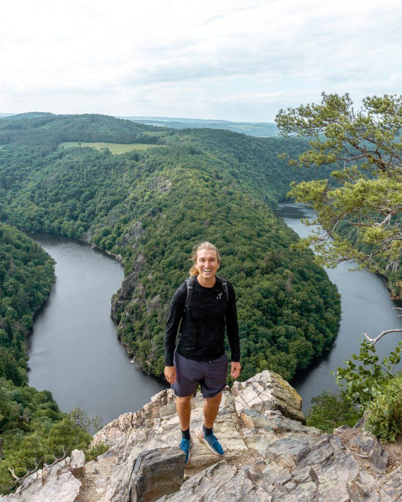 Famous view from Vyhlidka Maj hike near Prague, Czech Republic.