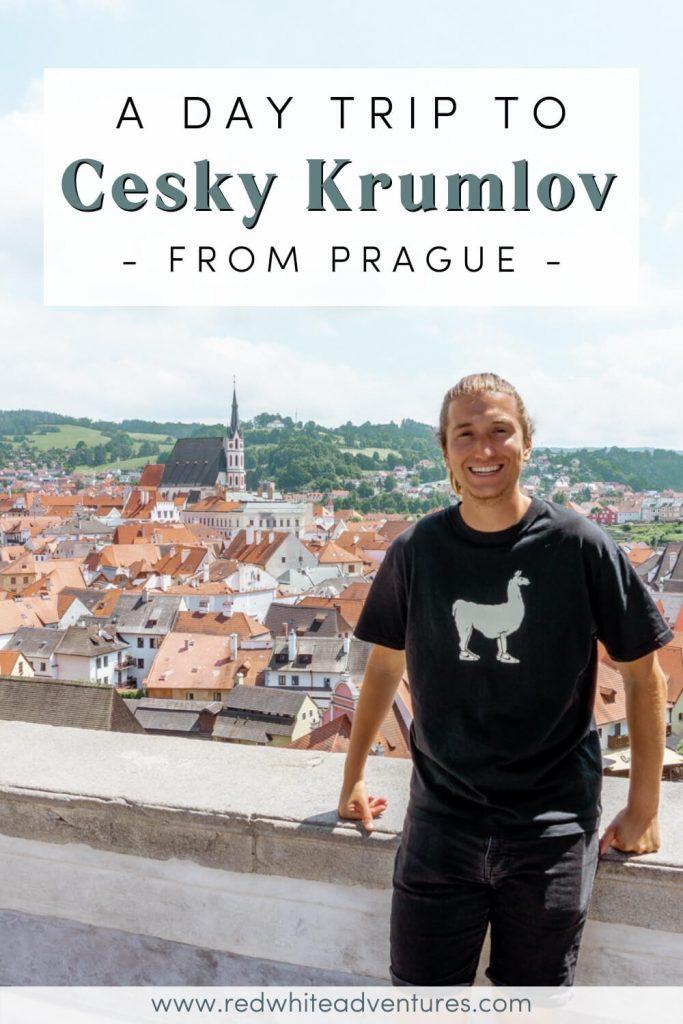 Dom enjoying the sun in Cesky Krumlov, pin for Pinterest.